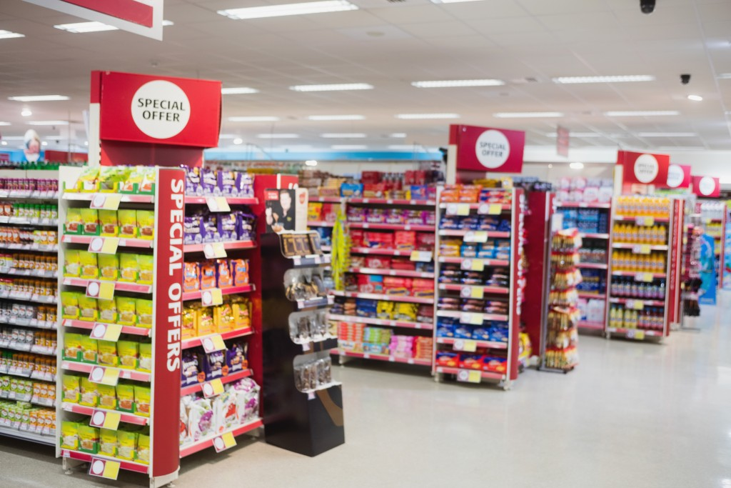 shelves with promotions in a supermarket