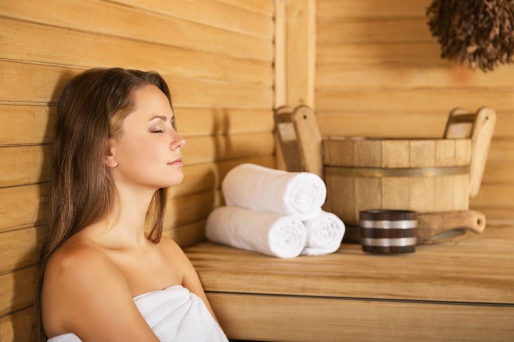 Female in the sauna