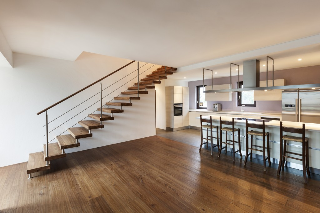 modern home staircase and kitchen