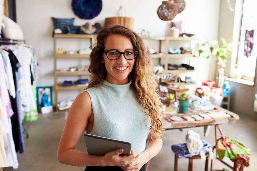 Female business owner of retail store