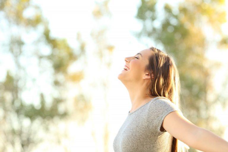 woman enjoying the sun