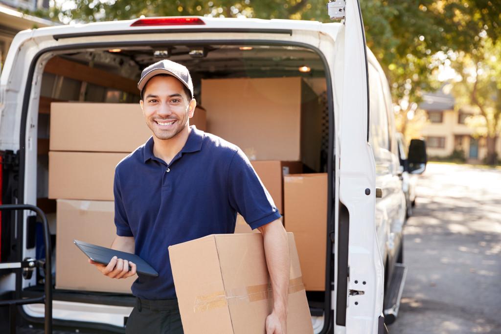 man delivering parcels