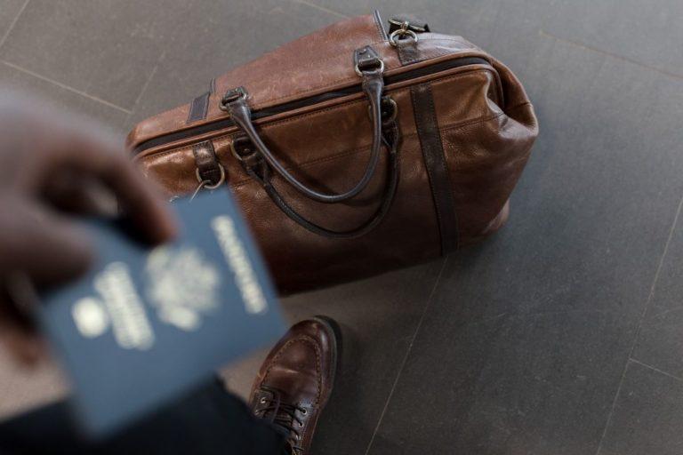 passport and duffle bag