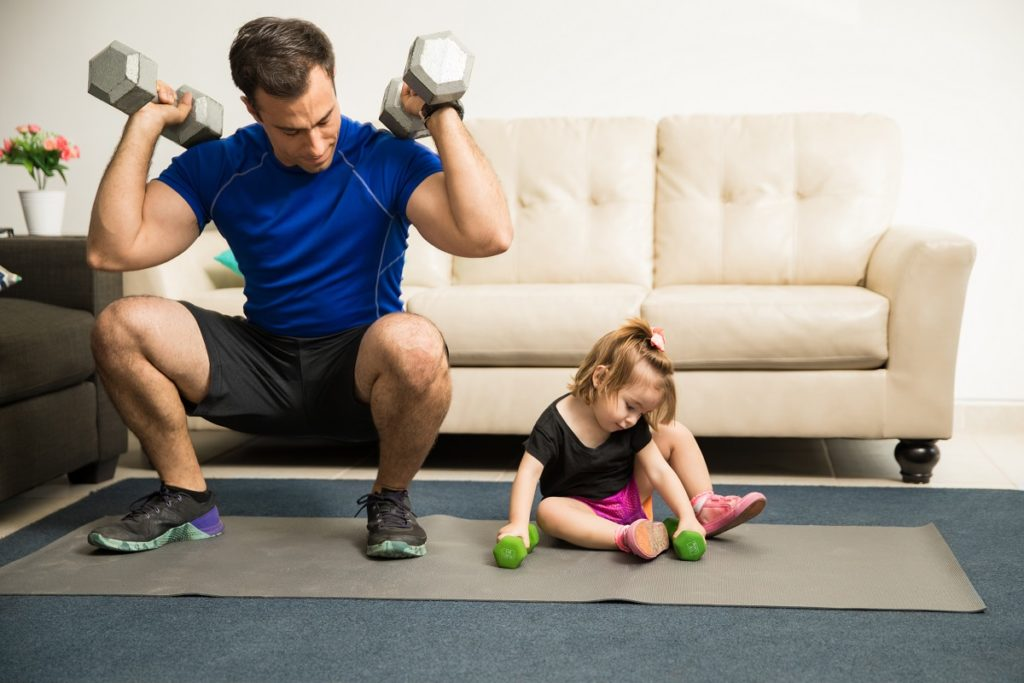 working out with the family