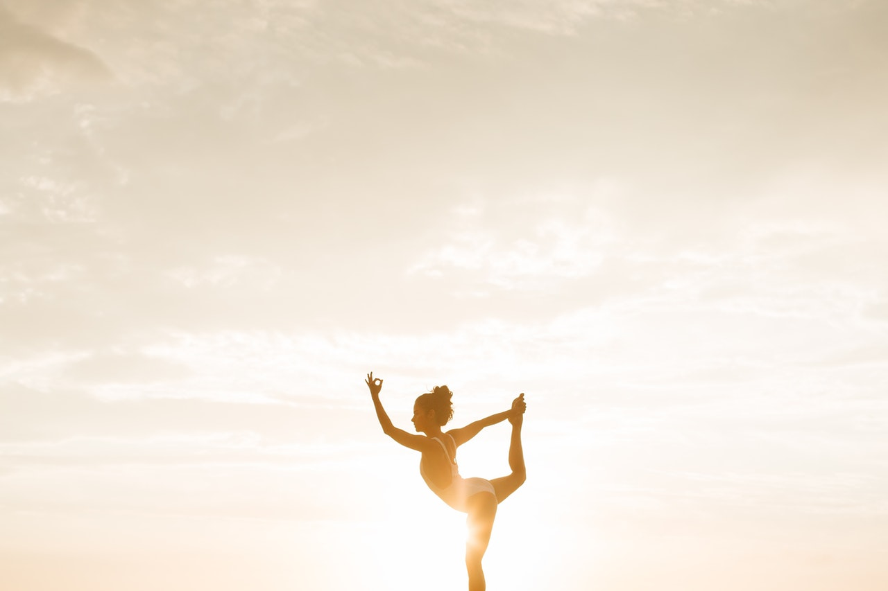 doing yoga outdoor