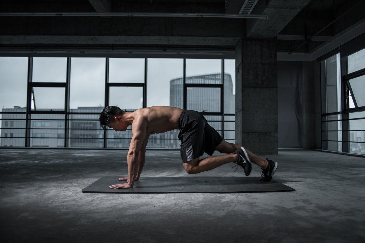man working out push up