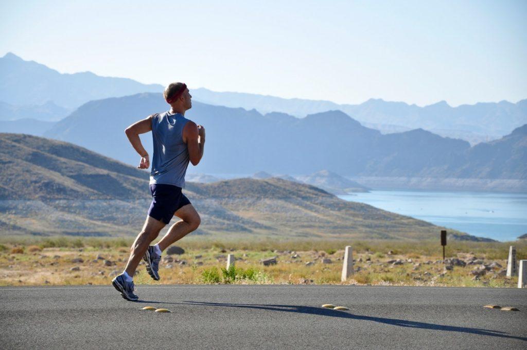 man jogging alone