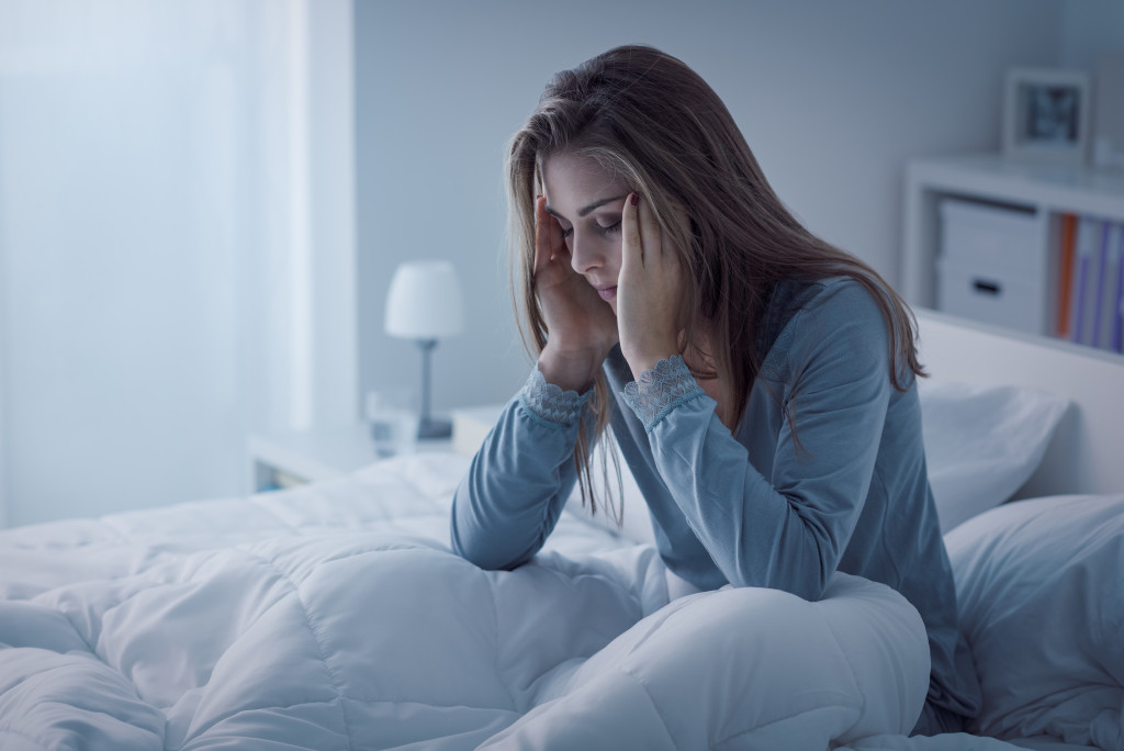 woman having trouble sleeping