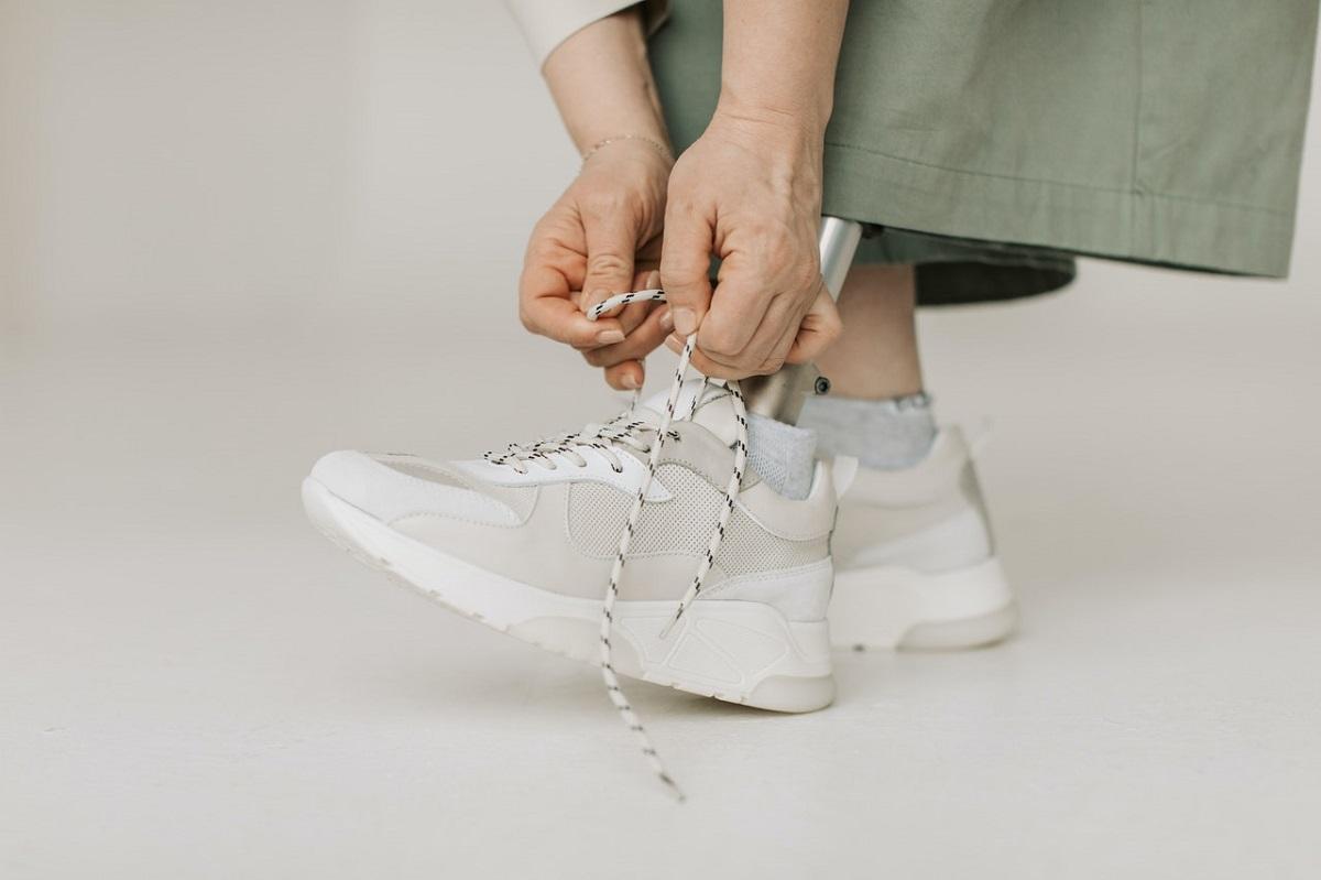 wearing sneakers