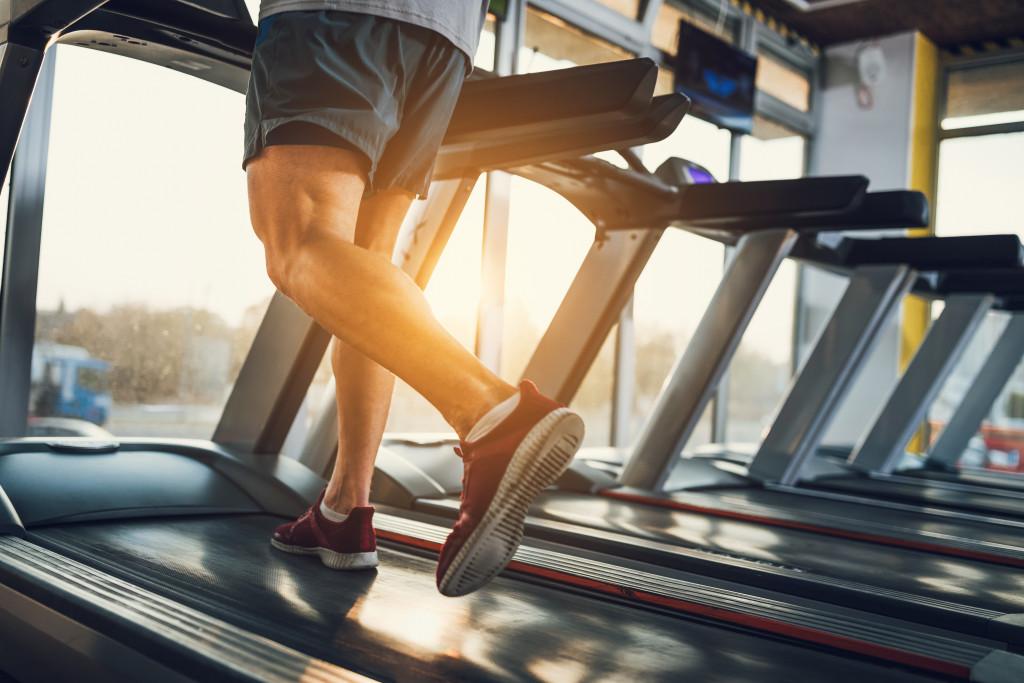 running on a treadmill