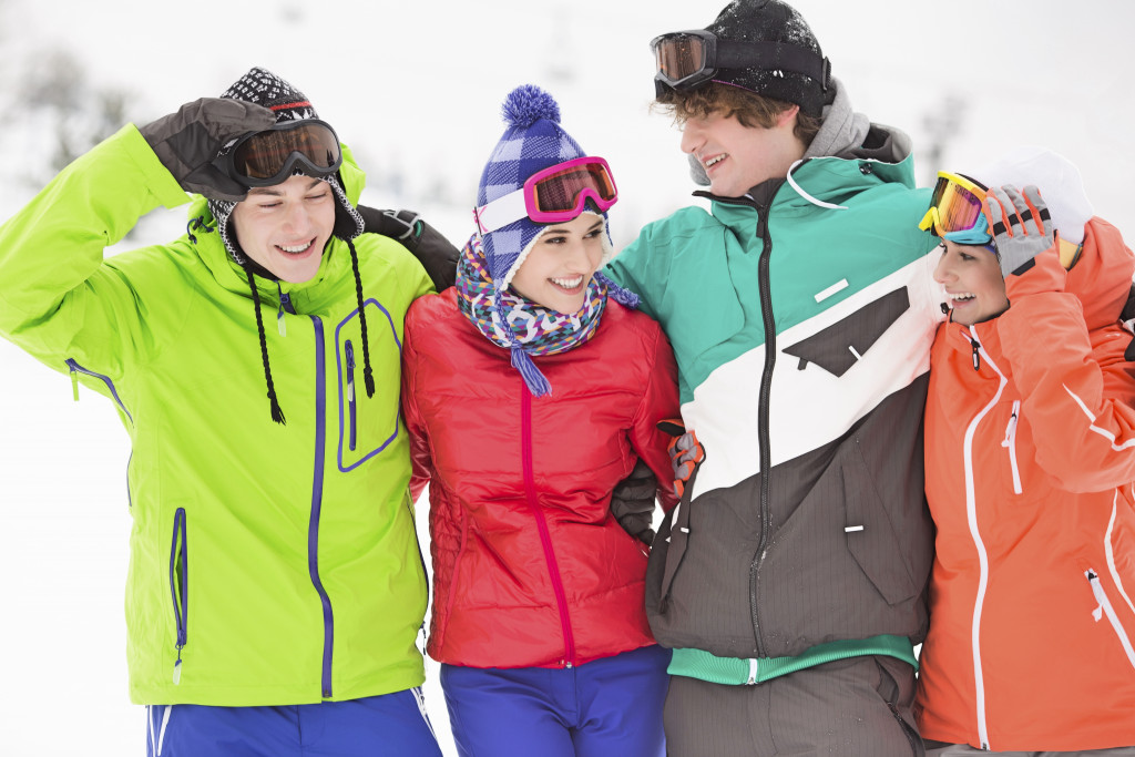 family on a ski trip during winter