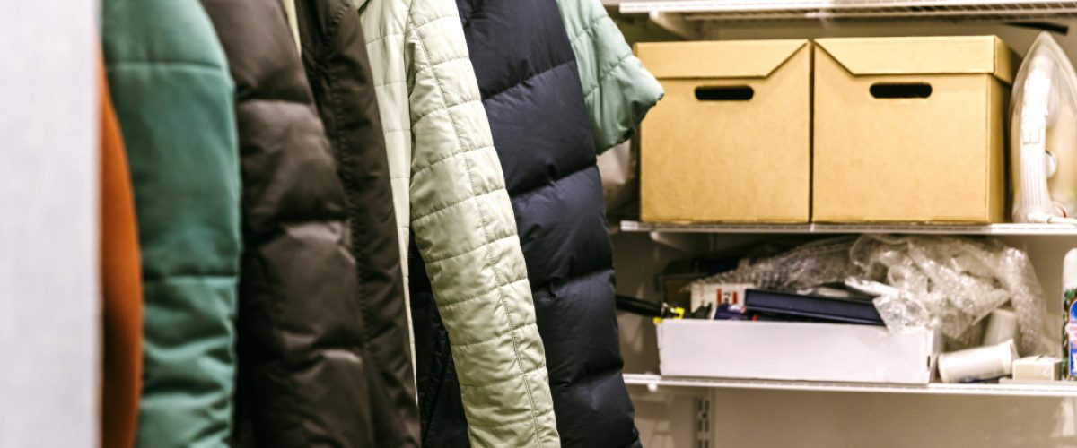 jackets in a closet